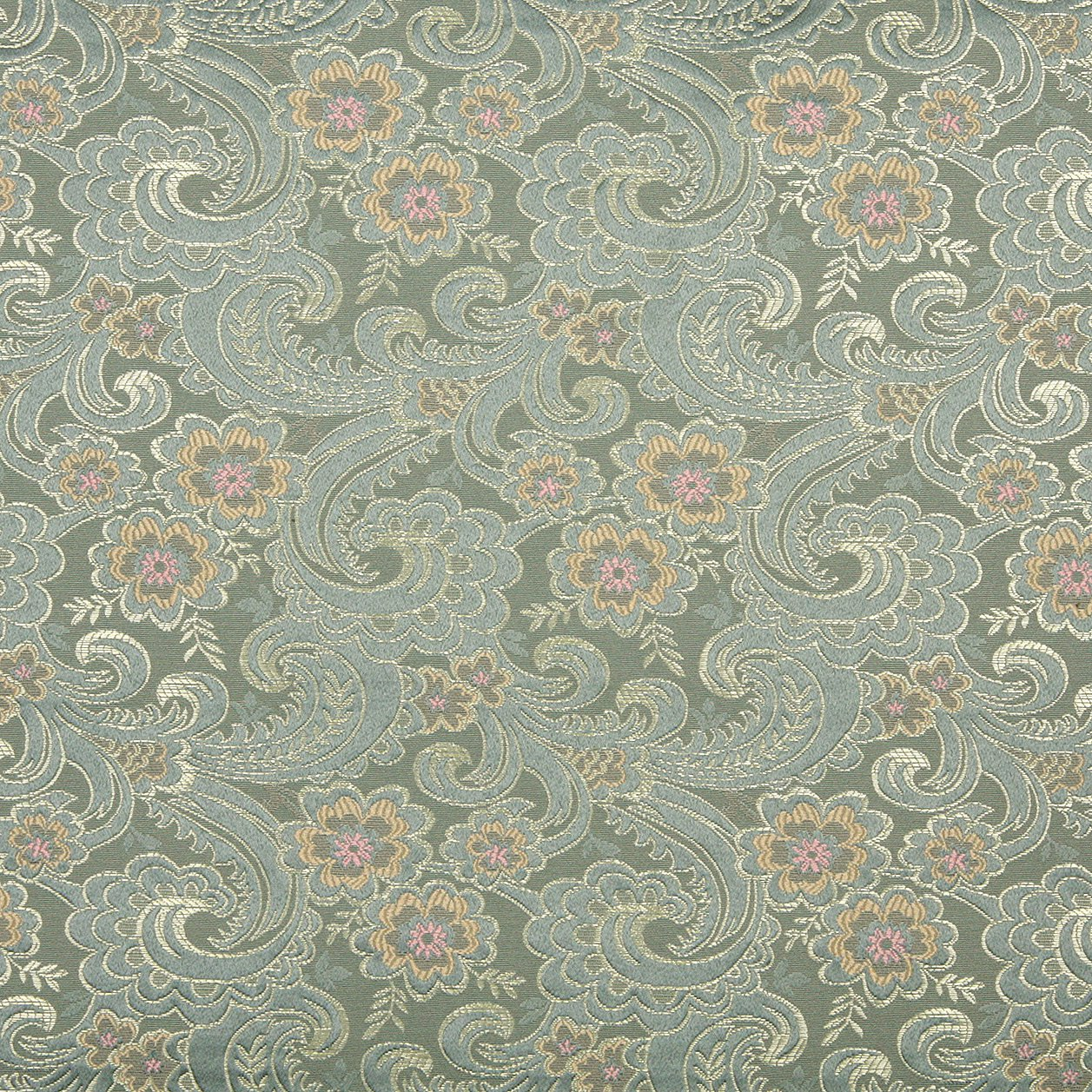 54 wide d122 gold pink and blue paisley floral brocade for Floral upholstery fabric