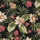 "54"""" Wide C401 Black, Pink And Green, Floral Outdoor, Indoor, Marine Upholstery Fabric By The Yard"