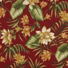 """54"""""""" Wide C402 Red, Gold And Green, Floral Outdoor, Indoor, Marine Upholstery Fabric By The Yard"""