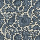 "54"""" Wide C416 Blue And Beige, Floral Abstract Outdoor, Indoor, Marine Upholstery Fabric By The Yard"