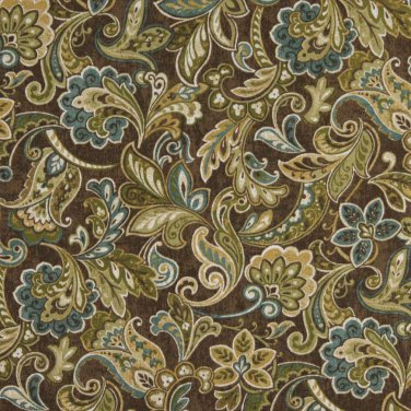 "54"""" Wide C422 Green Blue Brown Abstract Floral Outdoor Indoor Marine Upholstery Fabric By The Yard"