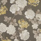 """54"""""""" Wide C434 Grey, White And Gold, Floral Outdoor, Indoor, Marine Upholstery Fabric By The Yard"""