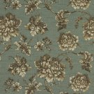"""54"""""""" Wide C439 Turquoise Brown Ivory Floral Outdoor Indoor Marine Upholstery Fabric By The Yard"""