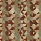 "54"""" Wide F511 Gold, Brown And Red, Geometric Chenille Upholstery Fabric By The Yard"