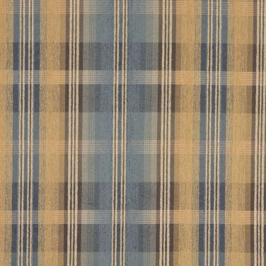 "54"""" Wide F154 Blue, Brown And Gold, Plaid Chenille Upholstery Grade Fabric By The Yard"