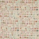 "54"""" Wide F857 Green, Pink, And Ivory, Geometric Chenille Upholstery Fabric By The Yard"