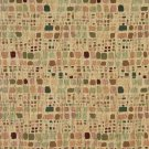 "54"""" Wide F858 Green, Orange, And Burgundy, Geometric Chenille Upholstery Fabric By The Yard"