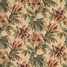 """54"""""""" Wide F862 Green, Beige And Red, Floral Chenille Upholstery Fabric By The Yard"""