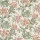 "54"""" Wide F863 Orange, Pink, Green And Ivory, Floral Chenille Upholstery Fabric By The Yard"