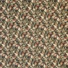 """54"""""""" Wide F910 Black, Red And Green, Floral Leaves Tapestry Upholstery Fabric By The Yard"""