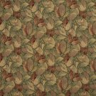 """54"""""""" Wide F935 Burgundy And Green, Floral Leaves Tapestry Upholstery Fabric By The Yard"""