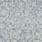 "54"""" Wide F801 Blue And Ivory, Pastel Floral Leaves Jacquard Woven Upholstery Fabric By The Yard"