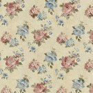 """54"""""""" Wide F808 Blue Red Green Cream Pastel Floral Roses Jacquard Woven Upholstery Fabric By The Yard"""