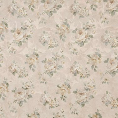 """54"""""""" Wide F809 Green And Gold, Pastel Floral Roses Jacquard Woven Upholstery Fabric By The Yard"""