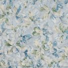 """54"""""""" Wide F826 Blue, Green And Ivory, Floral Leaves Jacquard Woven Upholstery Fabric By The Yard"""