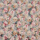 "54"""" Wide F833 Blue, Pink And Green, Floral Garden Jacquard Woven Upholstery Fabric By The Yard"
