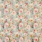 "54"""" Wide F834 Green, Peach And Blue, Floral Garden Jacquard Woven Upholstery Fabric By The Yard"
