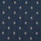 "54"""" Wide C624 Navy Blue And Beige, Flowers Country Style Upholstery Fabric By The Yard"