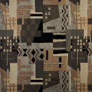 C680 Brown, Black, Grey And Gold, Large Scale Southwest Upholstery Fabric By The Yard