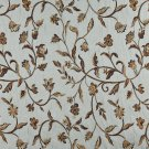 """54"""""""" Wide K0011A Light Blue Gold Brown Ivory Embroidered Floral Brocade Upholstery Fabric By The Yar"""