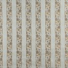 K0013A Light Blue Gold Brown Ivory Embroidered Striped Floral Brocade Upholstery Fabric By The Yard