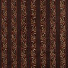 K0013B Brown Gold Persimmon Ivory Embroidered Striped Floral Brocade Upholstery Fabric By The Yard