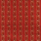 K0013G Red Brown Gold Ivory Embroidered Striped Floral Brocade Upholstery Fabric By The Yard