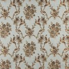 K0014A Light Blue Gold Brown Ivory Embroidered Floral Brocade Upholstery Fabric By The Yard