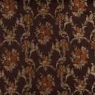 K0014B Brown Gold Persimmon Ivory Embroidered Floral Brocade Upholstery Fabric By The Yard