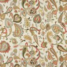 "54"""" Wide K0021B Green Red Yellow Off White Floral Paisley Contemporary Upholstery Fabric By The Yar"