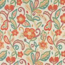 """54"""""""" Wide K0023A Teal, Green, Orange and Beige, Floral Contemporary Upholstery Fabric By The Yard"""