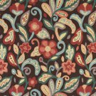 "54"""" Wide K0023B Teal, Blue, Orange, Red and Brown, Floral Contemporary Upholstery Fabric By The Yar"