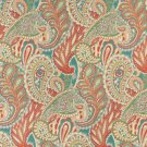 "54"""" Wide K0024A Orange Teal Green Orange Abstract Paisley Contemporary Upholstery Fabric By The Yar"