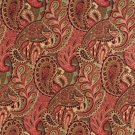 """54"""""""" Wide K0024B Burgundy, Green and Red, Abstract Paisley Contemporary Upholstery Fabric By The Yar"""