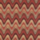K0028B Red Burgundy Gold Green Wavy Chevron Striped Contemporary Upholstery Fabric By The Yard