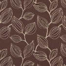 "54"""" Wide K0029A Brown and White, Large Leaves Contemporary Upholstery Fabric By The Yard"