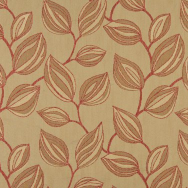 "54"""" Wide K0029C Beige and Red, Large Leaves Contemporary Upholstery Fabric By The Yard"