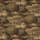 "54"""" Wide A003, Golfers, Golf Course and Clubhouse, Themed Tapestry Upholstery Fabric By The Yard"