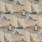 """54"""""""" Wide A006, Lighthouses, Calm Water, Sailboats, Themed Tapestry Upholstery Fabric By The Yard"""