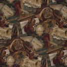 A010 Orchestra Symphony Violins Trumpets French Horns Themed Tapestry Upholstery Fabric By The Yard