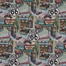 "54"""" Wide A011 Classic Route 66 Motels Diners Gas Pumps Themed Tapestry Upholstery Fabric By The Yar"