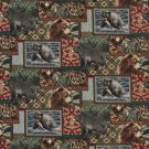 """54"""""""" Wide A018, Bears, Fish, Acorns and Trees, Themed Tapestry Upholstery Fabric By The Yard"""