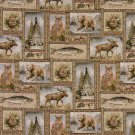 "54"""" Wide A024 Rustic Bears Moose Trees Acorns Fish Themed Tapestry Upholstery Fabric By The Yard"