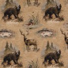 "54"""" Wide A026, Bears, Fish, Ducks, Deer and Trees, Themed Tapestry Upholstery Fabric By The Yard"