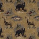 "54"""" Wide A027 Rustic Bears Fish Ducks Deer Trees Themed Tapestry Upholstery Fabric By The Yard"