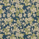 K0106A Beige Dark Blue Lime Green Floral Woven Indoor Outdoor Upholstery Fabric By The Yard