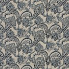 K0123A Navy Light Blue Beige Floral Foliage Woven Indoor Outdoor Upholstery Fabric By The Yard