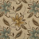 K0124A Beige Brown Teal Floral Vines Woven Indoor Outdoor Upholstery Fabric By The Yard