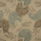 K0127A Tan Brown Teal Floral Leaves Woven Solution Dyed Indoor Outdoor Upholstery Fabric By The Yard
