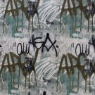 """N103 Black Teal Brown and Beige Abstract Urban Graffiti Upholstery Fabric By The Yard 